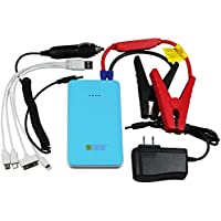 Teckology Slimest Compact Car Jump Starter Multifunction 8000mAh Portable External Power Bank Universal Charger for Apple, Samsung Android Blue
