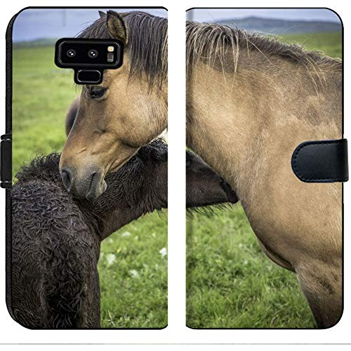Luxlady Samsung Galaxy Note 9 Flip Fabric Wallet Case Image ID: 34171621 an Icelandic Horse with her Newborn foal