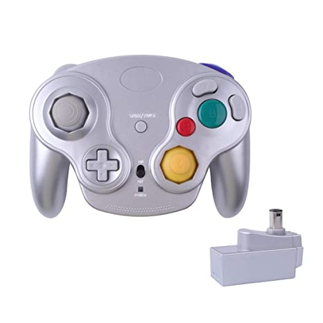 Poulep 1 Packs Classic 2 4G Wireless Controller Upgraded Gamepad with  Receiver Adapter for Nintendo Wii U Gamecube NGC GC (Silver2)