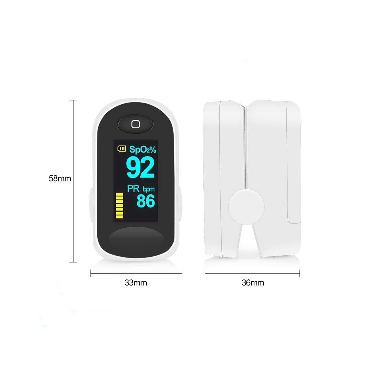 Oxímetro de Pulso, Elevenses Pulsioxímetro con Pantalla OLED, Oxímetro con función de alarma, Aaprobado por la FDA y la CE, Oxímetro de dedo para medir la ...