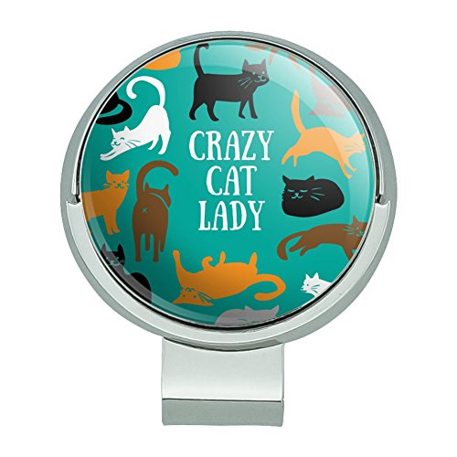 Graphics and More Crazy Cat Lady Teal Orange Black Brown Golf Hat Clip With Magnetic Ball Marker -