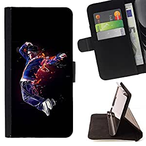 For Apple iPhone 5C Case , Flaming Bailarín- la tarjeta de Crédito Slots PU Funda de cuero Monedero caso cubierta de piel