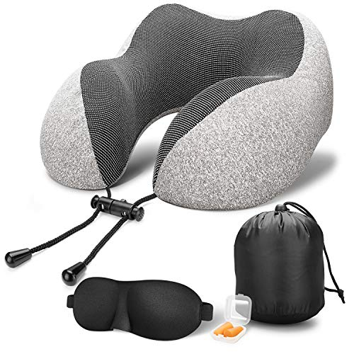 Travel Pillow 100% Pure Memory Foam Neck Pillow, Comfortable & Breathable Cover,Machine Washable,Super Soft Pillow,Airplane Travel Kit with 3D Contoured Sleep Masks,Earplugs and Reusable Bag,Grey