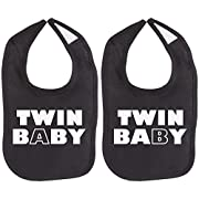Twin Baby Twin Set Unisex Newborn Baby Soft 100% Cotton Bibs in Black