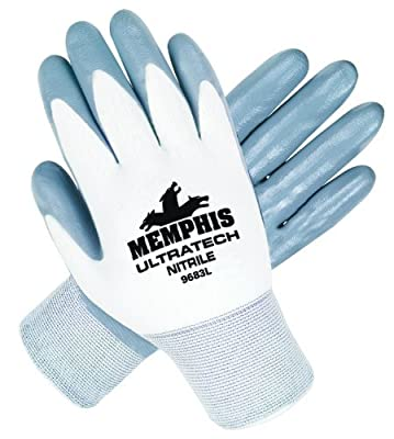 Memphis Glove 9683L UltraTech Nylon Shell Men's Gloves with Straight Thumb, Gray/White, Large, 1-Pair by MCR Safety