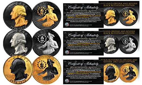 1976 Genuine Bicentennial Quarters 2-Sided BLACK RUTHENIUM Set of 3 ALL Versions