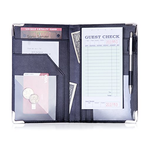 Sonic Server Book and Waiter Waitress Organizer for Waitstaff | Inner Color Black | 10 Pockets Holds Guest Checks, Money, Receipts, Order Pad with Pen Holder Loop