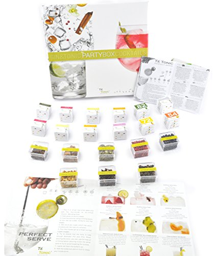 (Té Tonic Gin & Tonic Partybox, 24 Infusions and 8 Botanicals for flavoring your Gin cocktail with spices, herbs and flowers, ideal gin gift box and comes with a helpful Gin Cocktail Brochure)