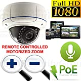 USG Sony DSP 1080P 2MP HD IP PoE Motorized Lens Auto-Zoom & Auto-Focus Dome Security Camera with Audio: 2.8-12mm Lens, 30x IR LEDs 100 Feet Night Vision, IR-Cut, Outdoor Rated, ONVIF, Motion Detection