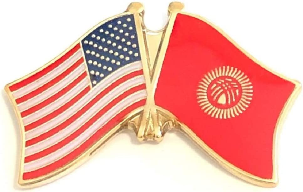 Pack of 3 National Country Flag & US Crossed Double Flag Lapel Pins, International & American Friendship Pin Badge (Kyrgyzstan)