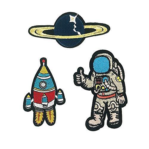 YOUOR 3pcs Space Theme Embroidered Patch Astronaut Planet Rocket Patches Space Fans Applique ()