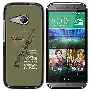 Caucho caso de Shell duro de la cubierta de accesorios de protección BY RAYDREAMMM - HTC ONE MINI 2 / M8 MINI - Solider Machine Quote Green