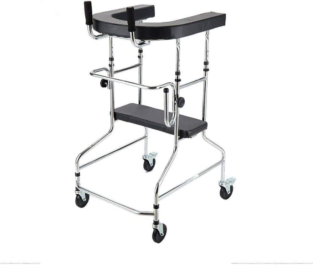 Andador para Ancianos Walker, Caminantes estándar Personas de edad avanzada Caminante Ruedas equipadas con asistencia for caminar ajustable Equipadas con una almohadilla for el descanso del brazo for