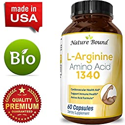 100% Pure L-arginine + L Citruline -Premium Amino Acids Strength for Pre work Out and Energy Enhancement for Men -Support Nitric Oxide -1000 mg Per Capsules -Natural Supplement Booster by Nature Bound