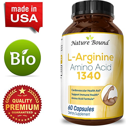 100% Pure L arginine + L Citruline Premium Amino Acids Strength for Pre work Out and Energy Enhancement for Men Support Nitric Oxide 1000 mg Per Capsules Natural Supplement Booster by Nature Bound