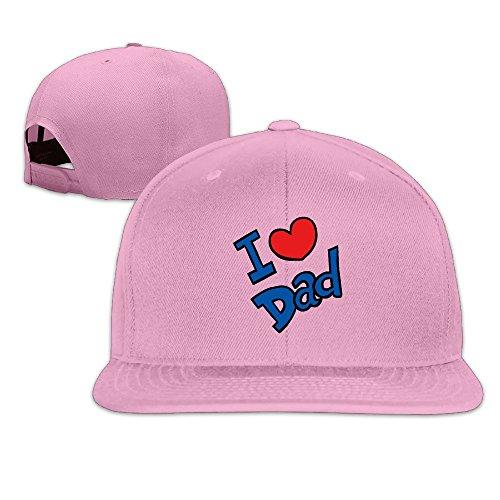 Custom Unisex I LoveDad Flat Brim Baseball Visor Cap Pink