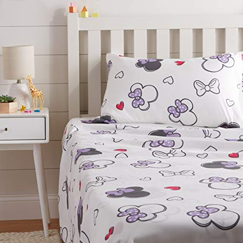 Disney Set Mattress - AmazonBasics by Disney Minnie Mouse Purple Love Sheet Set - Twin