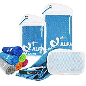 """Mesh Cooling Towel - 47"""" x 14"""" Extra Large As Scarf - Ultra Soft Breathable Yoga Towel - Keep Cool for Running Biking Hiking Tennis Golf & All Other Sports, Waterproof Bag Packaging with Carabiner"""