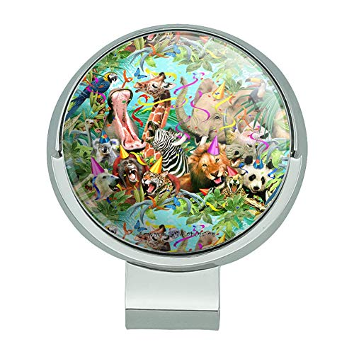 GRAPHICS & MORE Party Animals Birthday Lion Zebra Elephant Giraffe Pattern Golf Hat Clip with Magnetic Ball Marker -