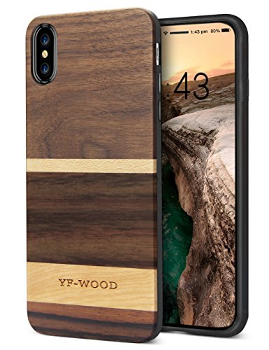 iPhone X Case, Genuine Wood Grain Cover for Men/Women Unique Cool Wooden Stripe Slim Bumper Protective Case for Apple iPhone 10 (Case Wooden)