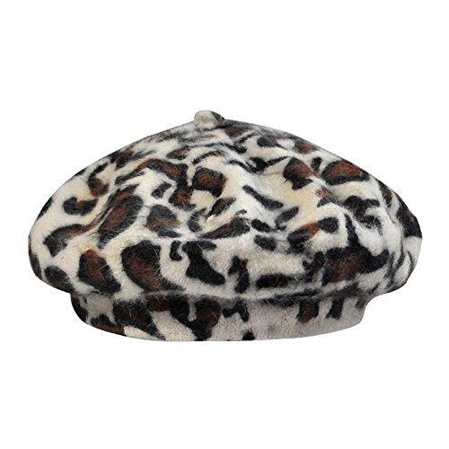Women French Style Vintage Leopard Print Wool Soft Winter Warm Beret Beanie Hat (White)