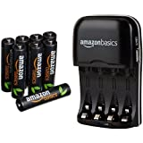 AmazonBasics AAA High-Capacity Rechargeable Batteries (8-Pack) and Ni-MH AA & AAA Battery Charger With USB Port Set