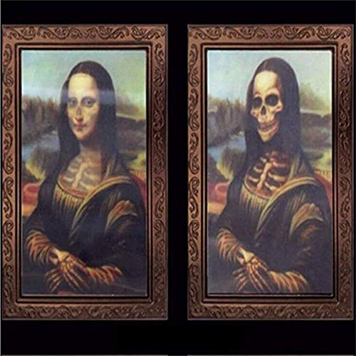 Halloween Indoor Decor Lenticular 3D Changing Face Moving Picture with Frame Horror Portrait Lady Gentleman Little Girl Monster Haunted Spooky for Theme Party Home Decoration 007