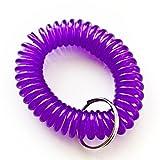 420 Pieces Purple Color Stretchable Plastic Bracelet Wrist Coil Wrist band Key Ring Chain Holder Tag