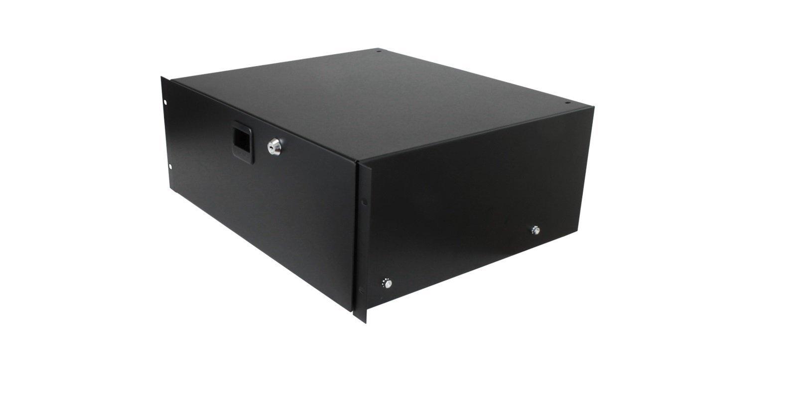 Penn Elcom 3234LK 4 Space (4U) Steel Rack Drawer with Slam Latch & Keyed Lock, 15.25'' Deep