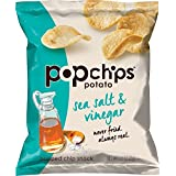 Popchips Potato Chips, Sea Salt & Vinegar Potato Chips, Single Serve Bags (0.8 oz), Gluten Free, Low Fat, No Artificial Flavoring (Pack of 24)