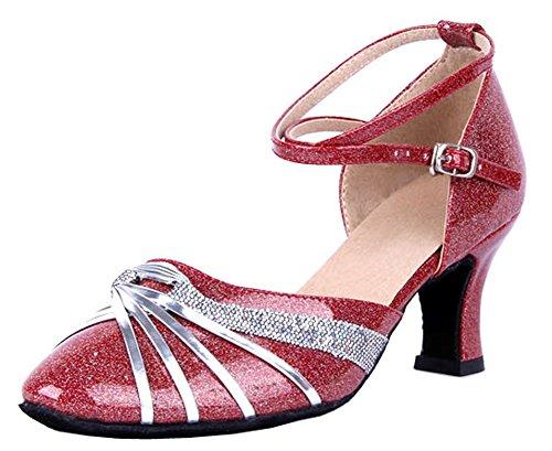 Honeystore Womens Ribbon Knot Ankle Strap Latin Dance Shoes Silver nUGZMsiuZB
