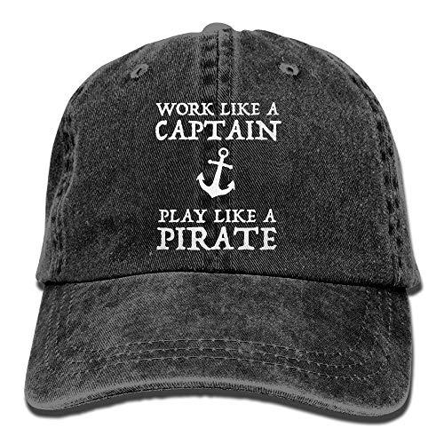 Work Like A Captain Play Like A Pirate Anchor Unisex Baseball Cap Cotton Denim Adjustable Sun Hat for Men Or Women ()