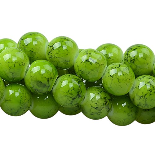 RUBYCA 10mm 2 Strands Czech Glass Round Beads Green Painted Colored String for Jewelry (Green Lampwork Beads)