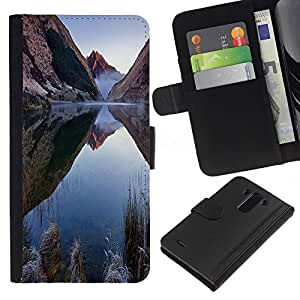 KLONGSHOP // Tirón de la caja Cartera de cuero con ranuras para tarjetas - Naturaleza Mountain Lake - LG G3 //