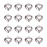 PandaHall Elite Brass Heart Shape Charms Nickel Free Silver 13x11.5x4.5mm about 50pcs/bag for Jewelry Making