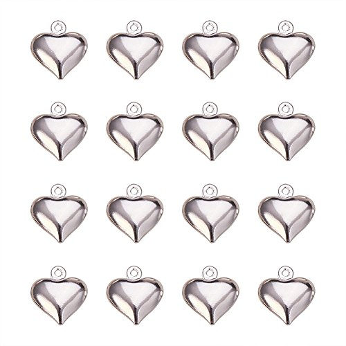 (PandaHall Elite 50 Pcs Brass Heart Charm Pendants 13x11.5x4.5mm for Jewelry Making Silver)