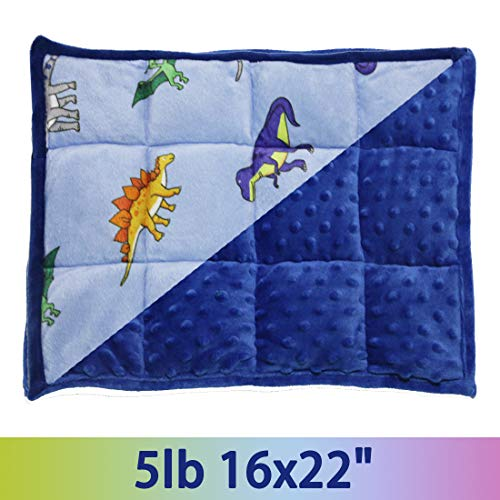 Cheap MAXTID Weighted Lap Pad for Kids 5 Pounds Kids Lap Blanket Sensory Pad Blue Dinosaur 16