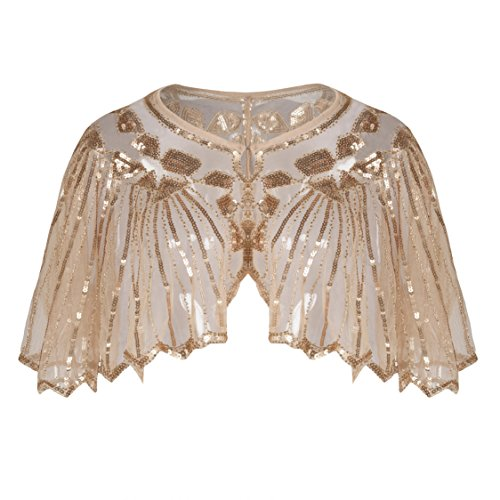 Kayamiya Women's 1920s Shawl Sequin Beaded Art Deco Wedding Cape Evening Wrap Rose Gold