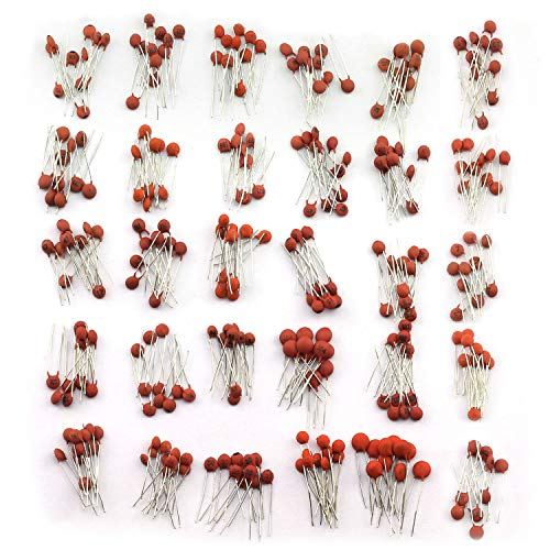 Tegg 300pcs Ceramic Capacitors Assorted Kit 2pF-0.1uF 30 Values Commonly Used Electronic Component DIY Assortment