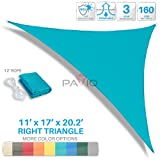 Patio Paradise 11' x 17' x 20.2' Turquoise Green Sun Shade Sail Right Triangle Canopy - Permeable UV Block Fabric Durable Outdoor - Customized Available
