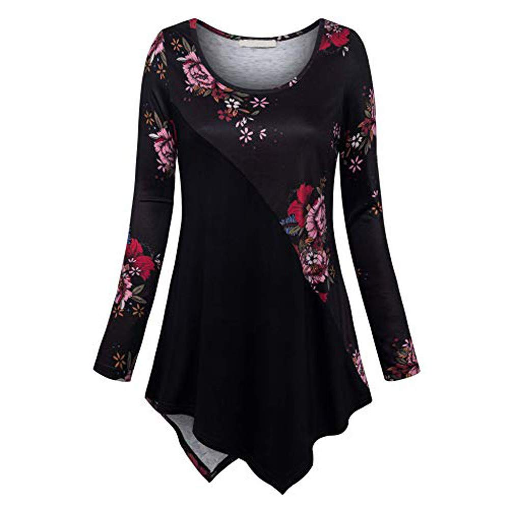 Womens Plus Size Tops Long Sleeve Blouse O-Neck Pullover Print Tee Irregular Hem Blouse Casual Tops