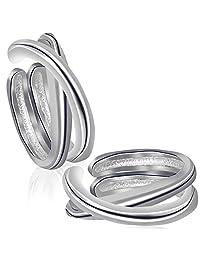 Sterling Silver Fake Cuff Earrings Clip on Non pierced Ear Hoops Unisex Cartilage Earrings