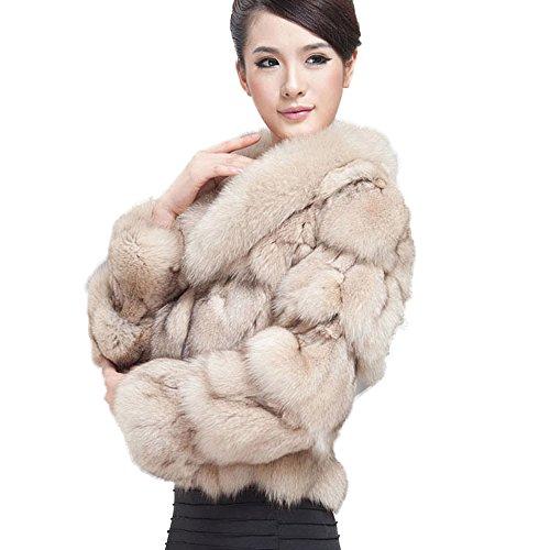 Fur Story 010220 Women's Real Fox Fur Coat with Fox Fur Collar Beige US (Fox Fur Coat)