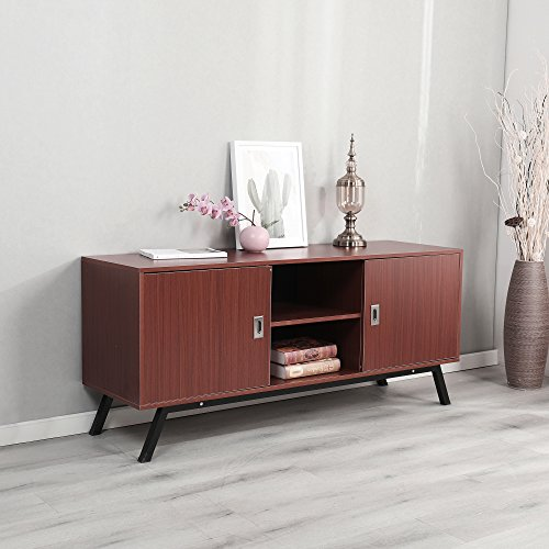 Dland TV Stand 59'', Composite Wood Board, 2-Shelf & 2-Cube & 2-Door Entertainment Center Console Storage Cabinet for Living Room Bedroom, WK-GZ003-RM Red-Maple, 1 Pack by Dland (Image #3)