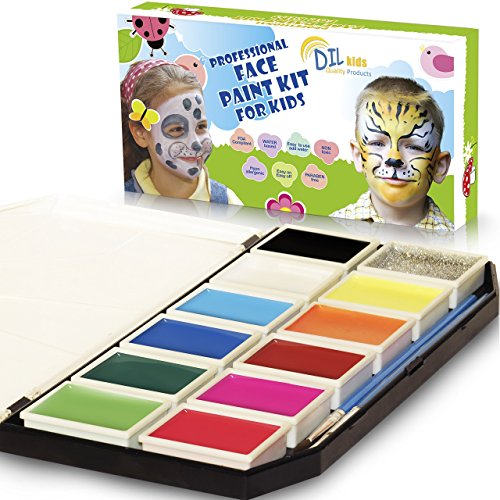 DIL Face Paint Kit for Kids - 11 Colors, Glitter, Brushes, Stencils - Painting Palette for fun-filled face designs - Nontoxic, Water-Based, Easy Application&Removal - DOUBLE BONUS Wipes & Online Guide (Halloween Face Paint Ideas For Toddlers)