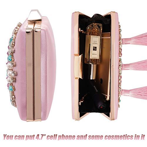 Pink Wedding Satin Evening Colorful Purses Clutches Handbag Womens Beaded Bags Rhinestone UYzx0Fq