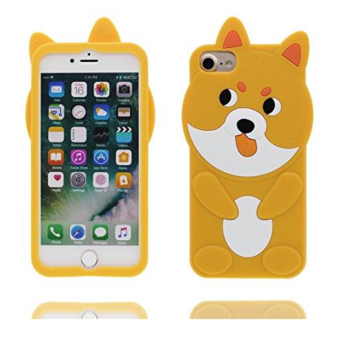 iPhone 7 Plus Custodia, Cover iPhone 7 Plus Copertura 5.5, [Cartoon 3D cane Cute Ears Dog] silicone TPU Shell iPhone 7 Plus Case 5.5 giallo