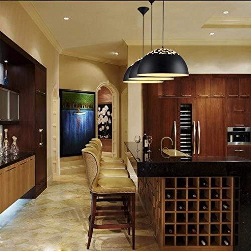 (BOSSLV Industrial Vintage Pendant Lamp Pierced Design Beautiful Elegant Pendant Lamp Black Metal Semicircle Hanging Lamp Adjustable Height E27 Max 60W 400Mm Parlor)