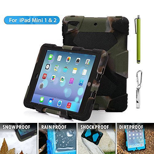 ACEGUARDER ipad mini 2/3 case for kids Rainproof Shockproof Waterproof Case for Apple Ipad Mini 3 Slim Military-Duty Case with Back Cover Standing [Army-Black]