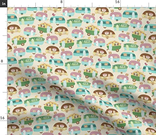 Spoonflower Pastel Camper Trailer Van Fabric - Camping Characters Camper Trailer Van Pastel Camping Hand Painted Drawn by Bianca Pozzi Printed on Petal Signature Cotton Fabric by The Yard